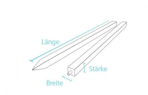 Kunststoff Vierkantpfosten / Pfähle mit Spitze